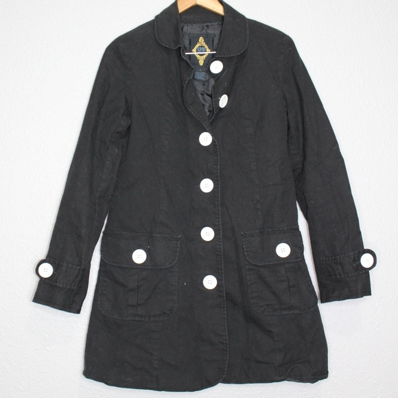 BB Dakota Jackets & Blazers - BB Dakota Cotton Pea Coat w/ White Buttons Sz Sm